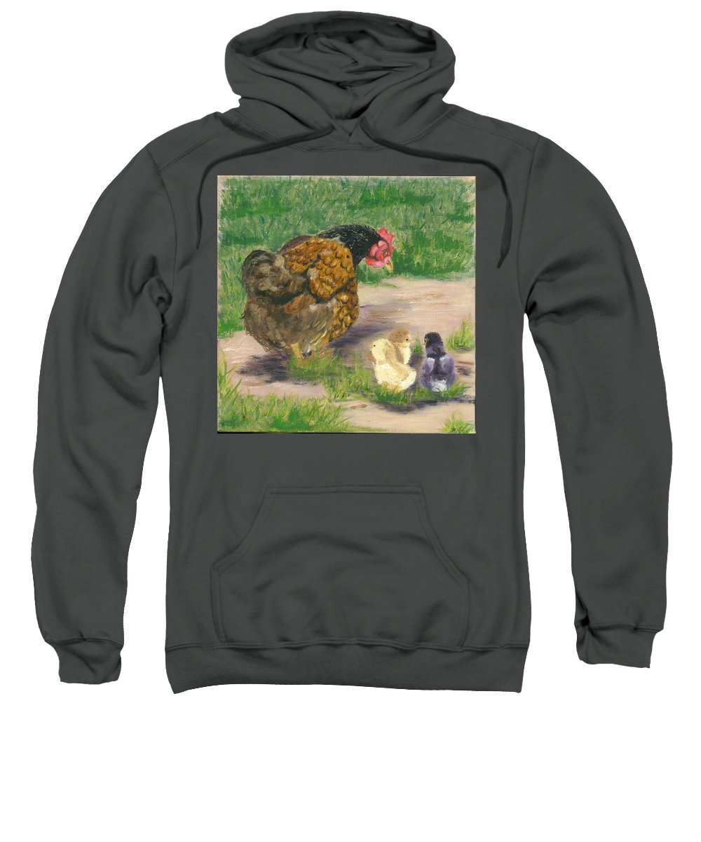 Cickens Chicks Hen Barnyard Bantams Farm Bucolic Nature Sweatshirt featuring the painting Lesson Time by Paula Emery