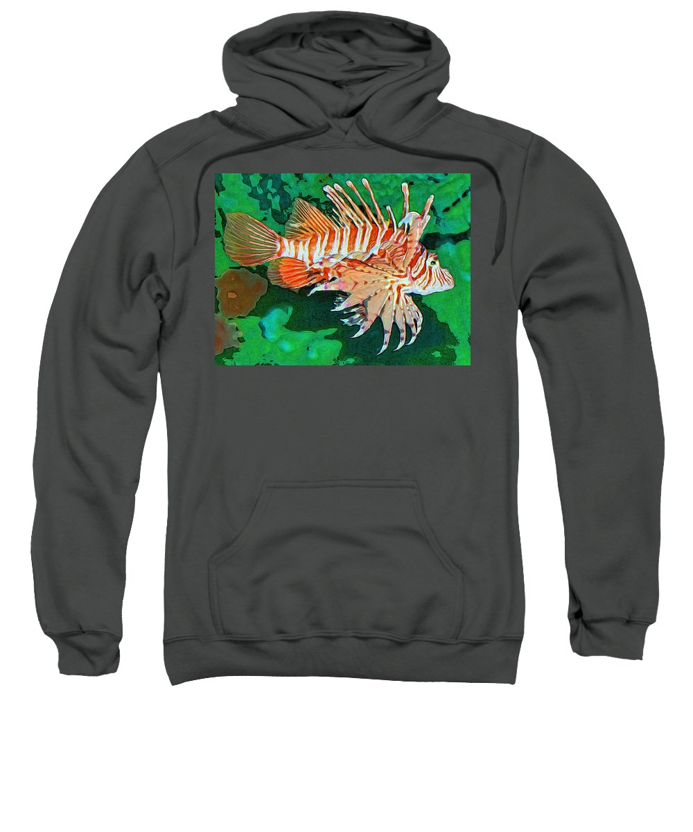 Fish Sweatshirt featuring the painting Lester by Dominic Piperata