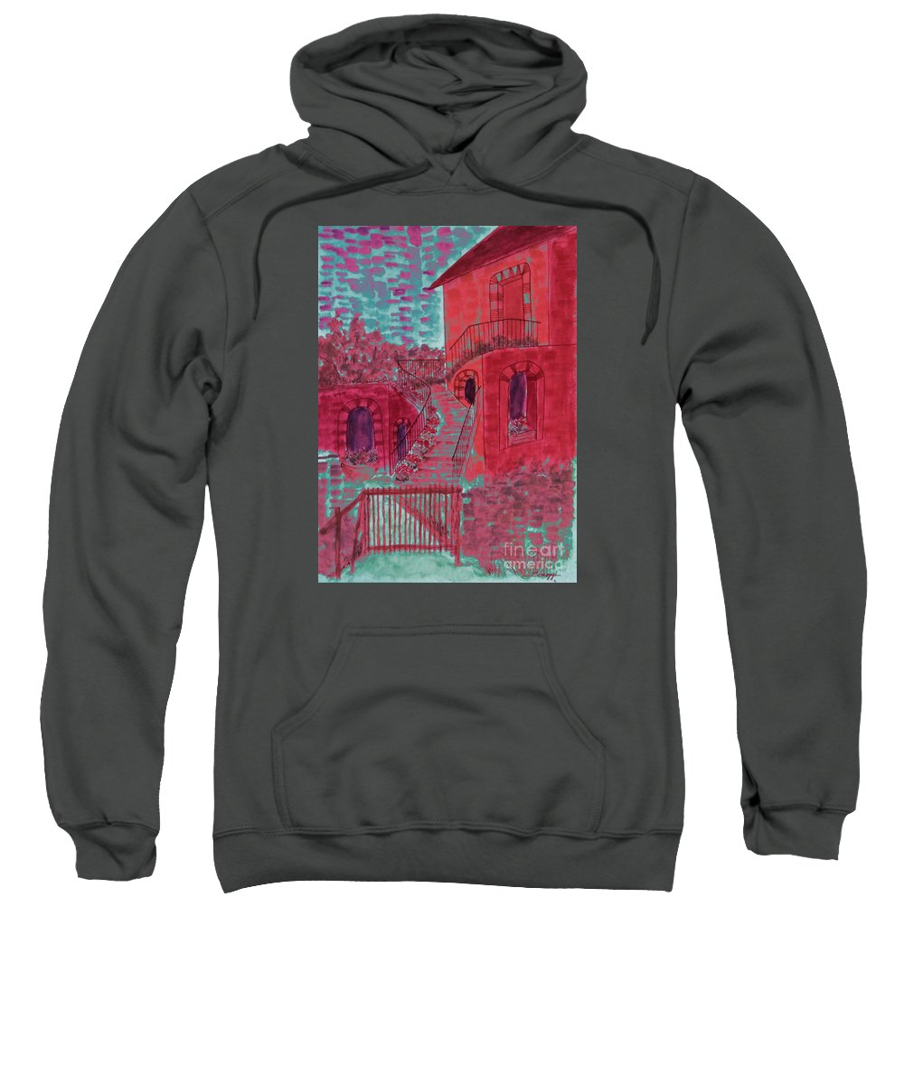 Architecture Sweatshirt featuring the painting Let Them Eat Cherry Cake #2 by Jayne Somogy