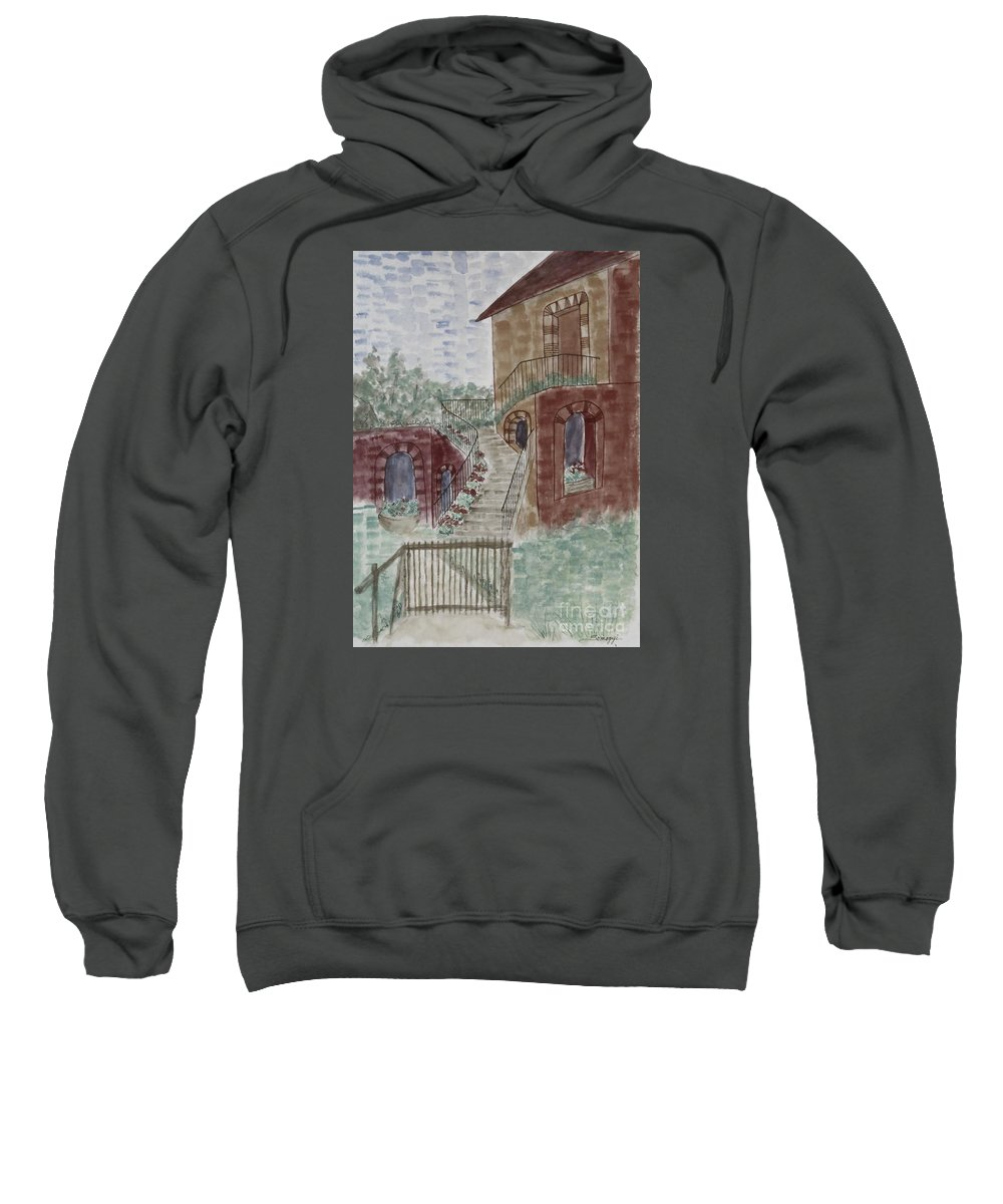 Architecture Sweatshirt featuring the painting Let Them Eat Dark Chocolate Cake by Jayne Somogy