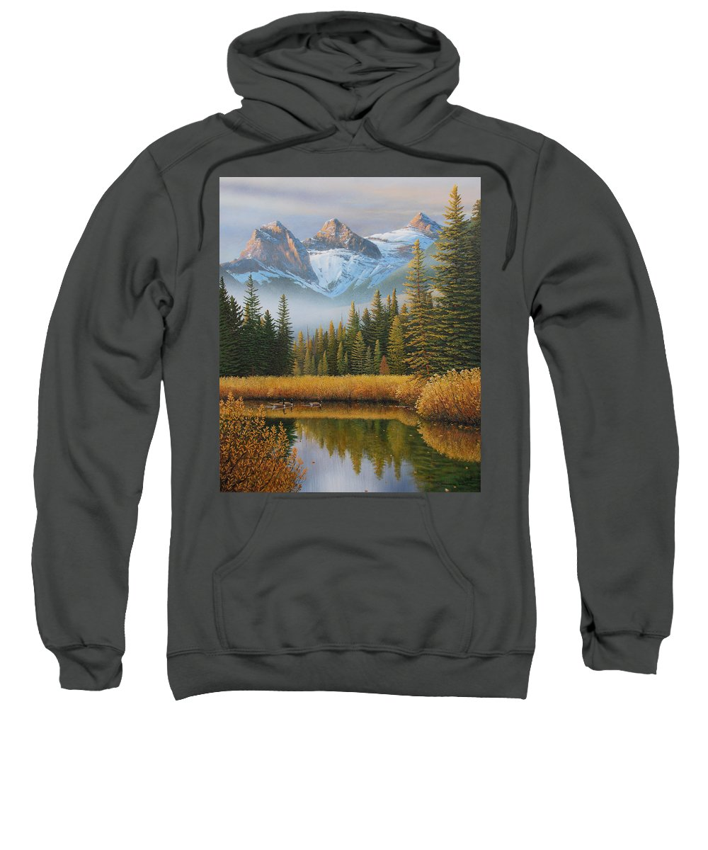 Landscape Sweatshirt featuring the painting Let There Be Light by Jake Vandenbrink