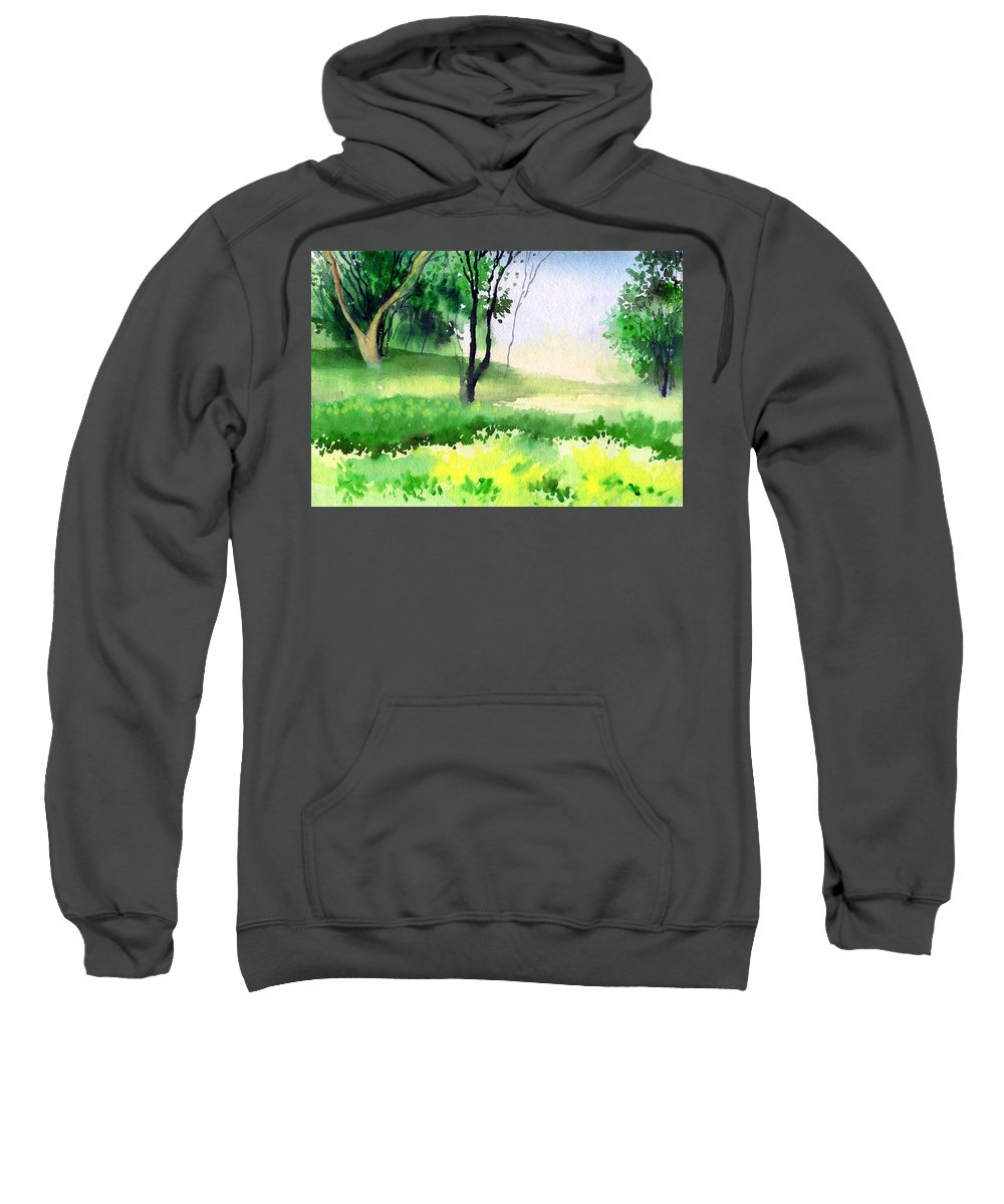 Watercolor Sweatshirt featuring the painting Let's Go For A Walk by Anil Nene