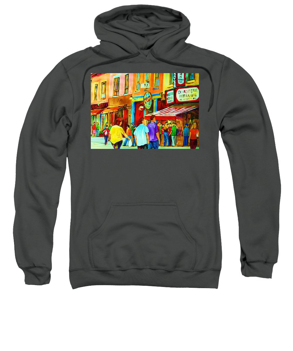 Cityscape Sweatshirt featuring the painting Lets Meet For Lunch by Carole Spandau