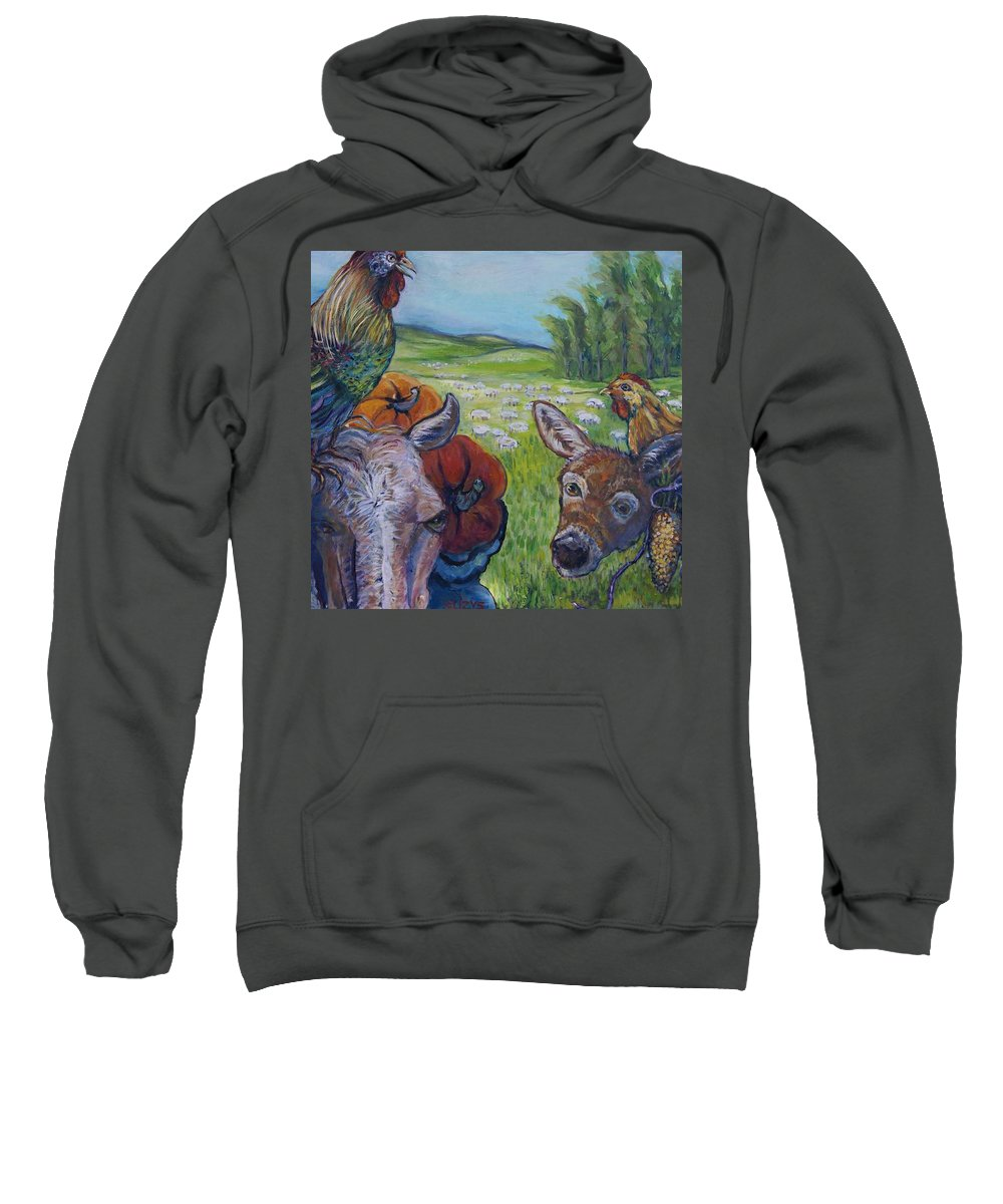 Contemporary Sweatshirt featuring the painting Let's Talk by Susan Brown  Slizys art signature name