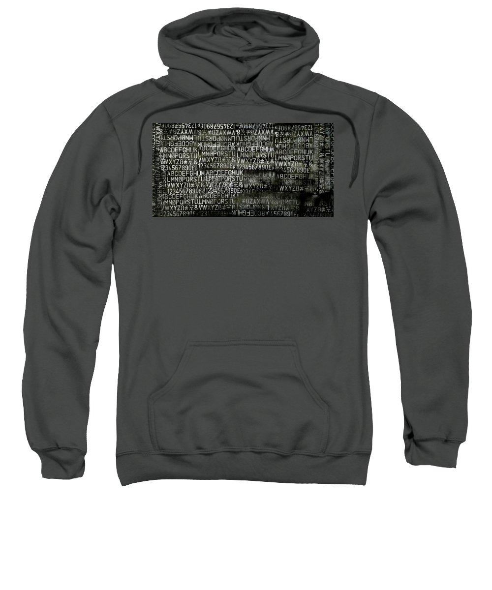 Acrylic Sweatshirt featuring the mixed media Letters And Numbers Grey On Black by Kim Gauge
