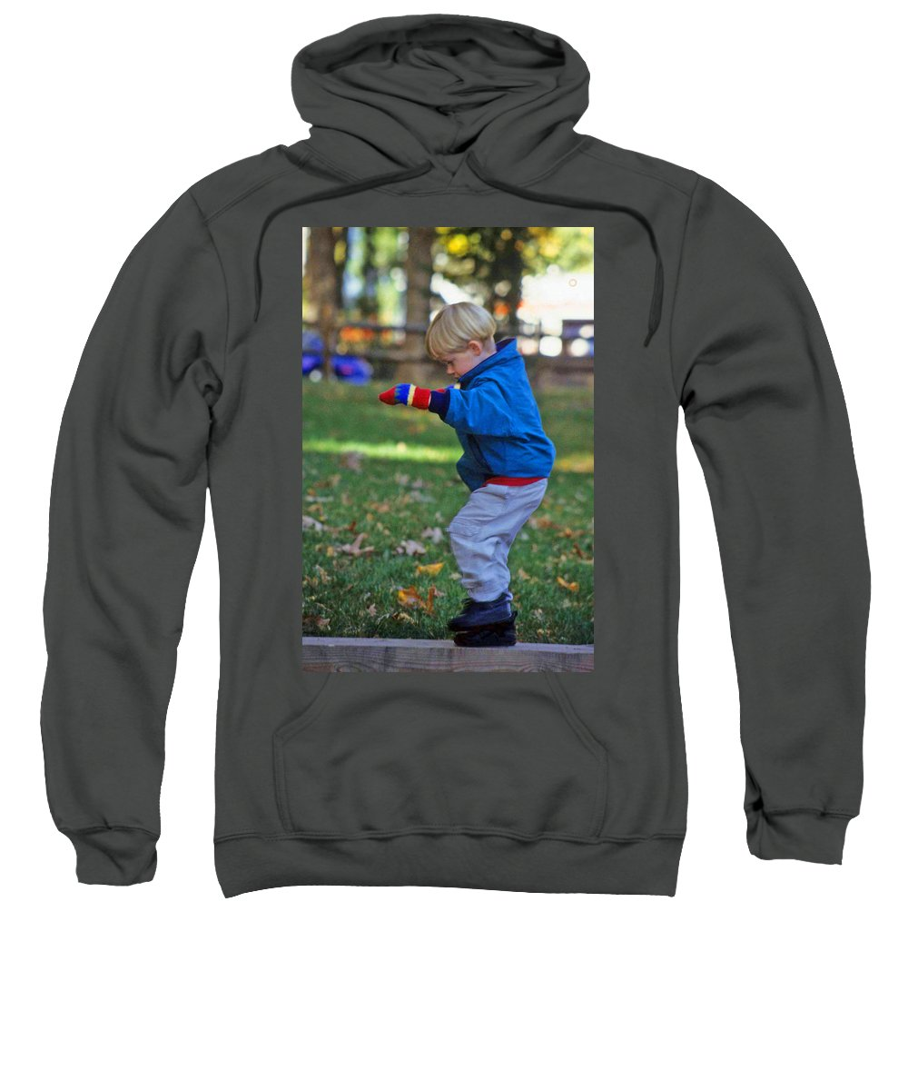 Boy Balancing Sweatshirt featuring the photograph Life In Perfect Balance by Laurie Paci