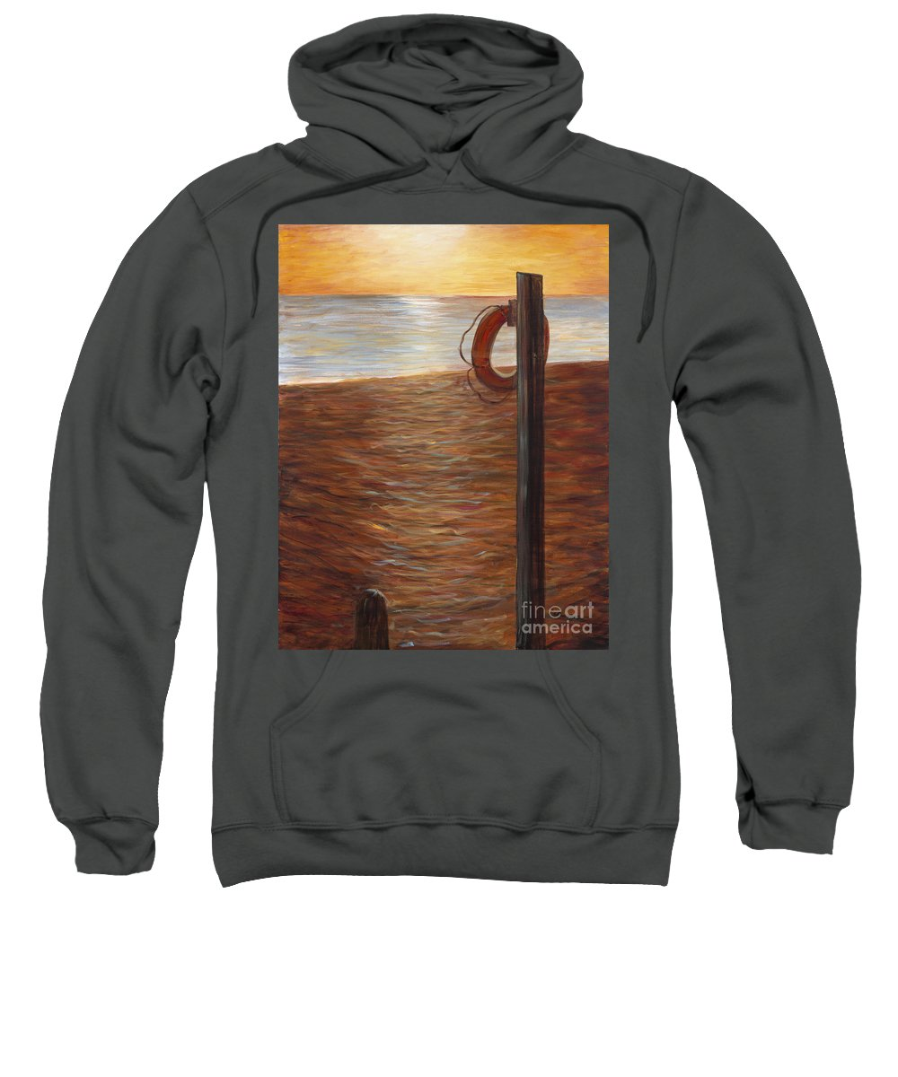 Life Ring Sweatshirt featuring the painting Life Ring At Sunset by Nadine Rippelmeyer