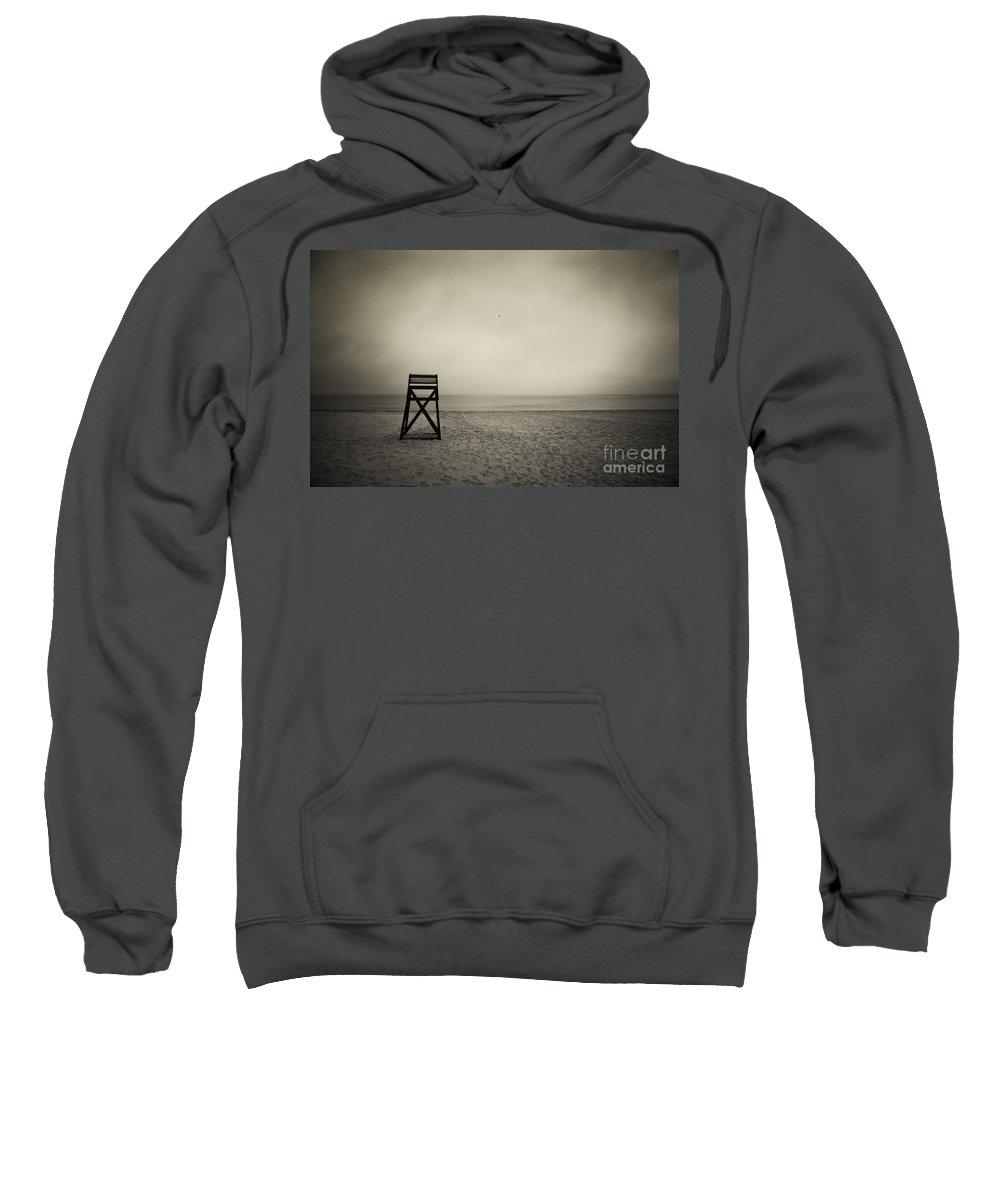 B&w Sweatshirt featuring the photograph Lifeguard Stand by John Greim