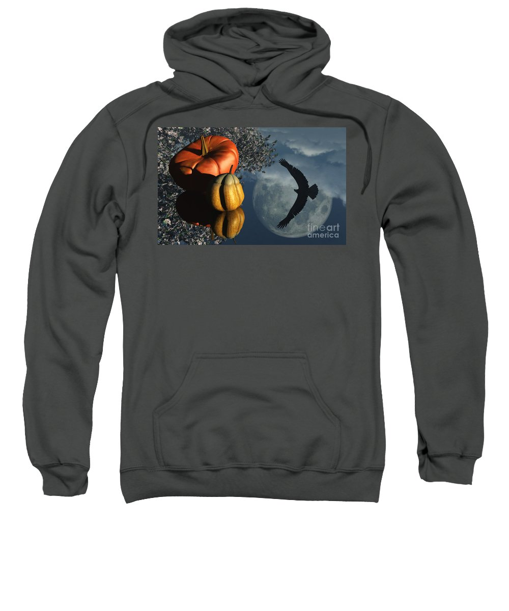 Harvest Moon Sweatshirt featuring the digital art Life's Reflections by Richard Rizzo