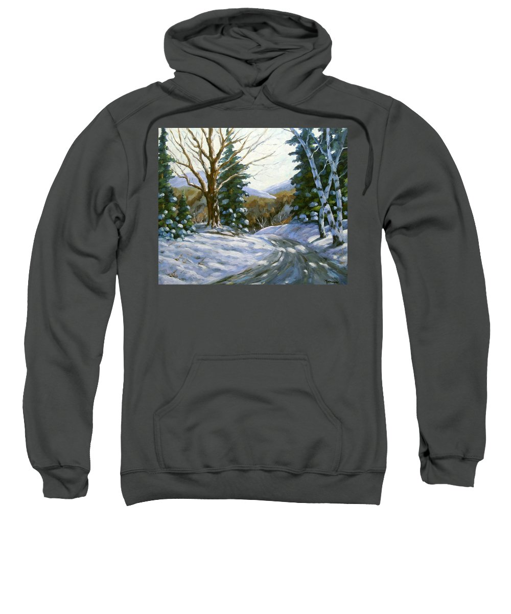 Art Sweatshirt featuring the painting Light Breaks Through The Pines by Richard T Pranke