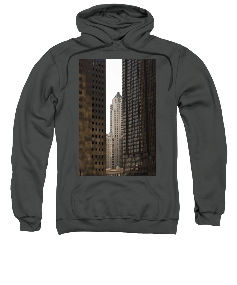 Chicago City Wind Windy Jungle Urban Metro Building Tall High Windows Skyscraper Sky Sweatshirt featuring the photograph Light In The End by Andrei Shliakhau