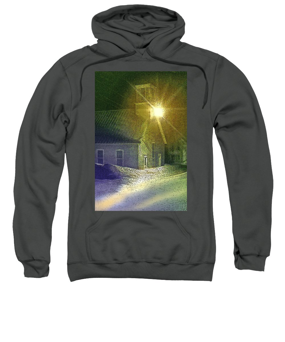 Church Sweatshirt featuring the photograph Light In The Night by Nancy Griswold