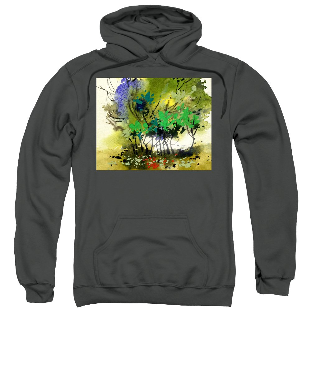 Nature Sweatshirt featuring the painting Light In Trees by Anil Nene
