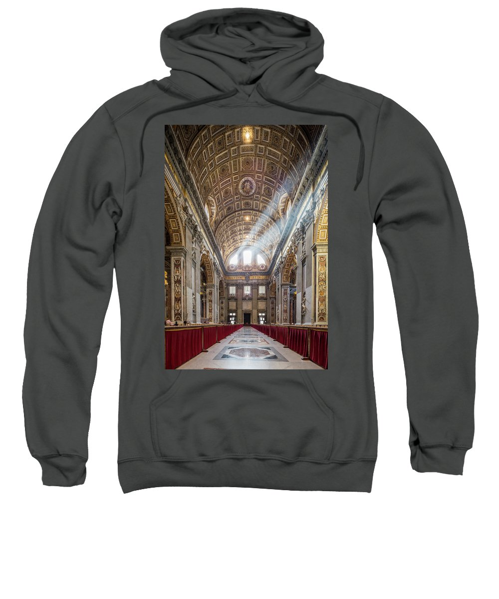 St Peter�s Basilica Christianity Cathedral Church Holy Monument Pope Balcony San Pietro Rome Europe European Italy Italia Rome Roma Roman History Historic Beautiful Style Romantic Romance Summer In Italy Landmark Monument Capital Tiber Architecture Architectural Buildings Summer In Rome Crepuscular Rays Of Light  Sweatshirt featuring the photograph Light Rays In St Peter's, Rome by Michael Evans
