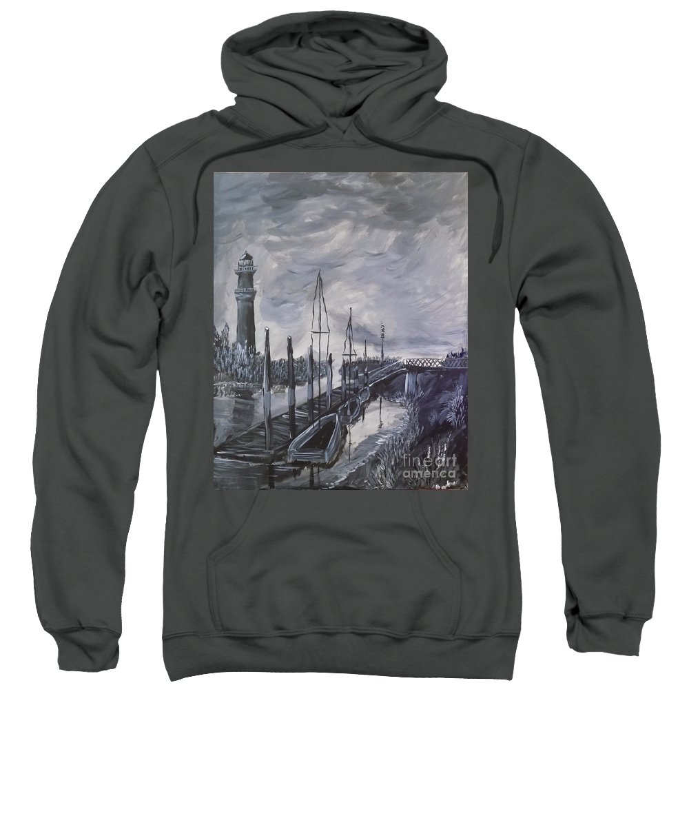 Lighthouse Sweatshirt featuring the painting Lighthouse At Low Tide by Bryon Bewsher