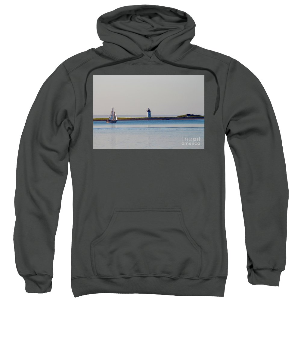 Sailboat / Lighthouse / Provincetown Sweatshirt featuring the photograph Lighthouse Sail 2 by Gregory E Dean