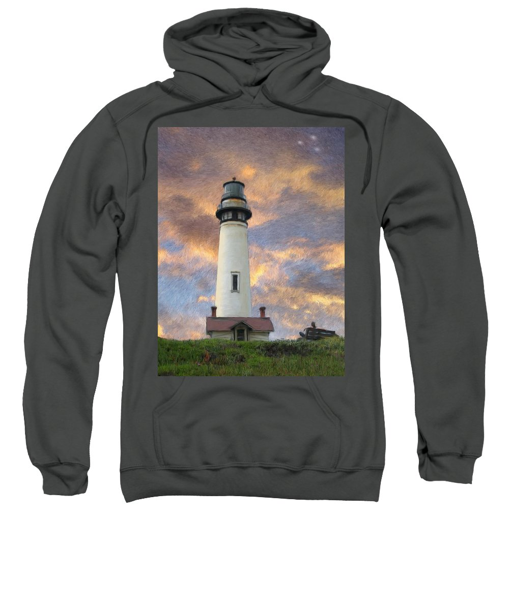 Lighthouse Art Sweatshirt featuring the digital art Lighthouse Visitors by Snake Jagger
