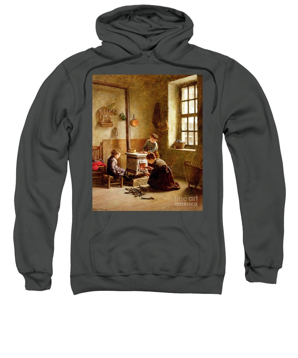 Lighting The Stove Sweatshirt featuring the painting Lighting The Stove by Pierre Edouard Frere