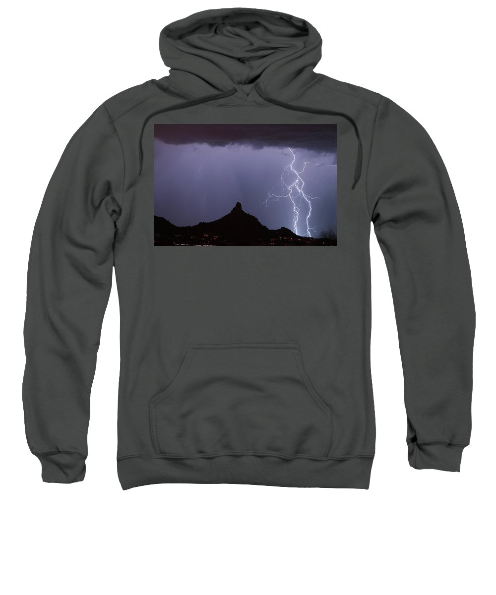Arizona Sweatshirt featuring the photograph Lightnin At Pinnacle Peak Scottsdale Arizona by James BO Insogna