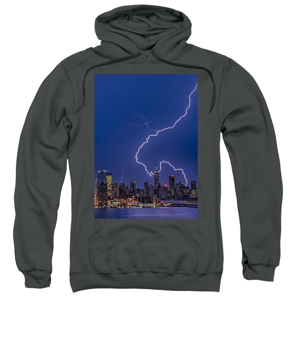 Lightning Sweatshirt featuring the photograph Lightning Bolts Over New York City by Susan Candelario