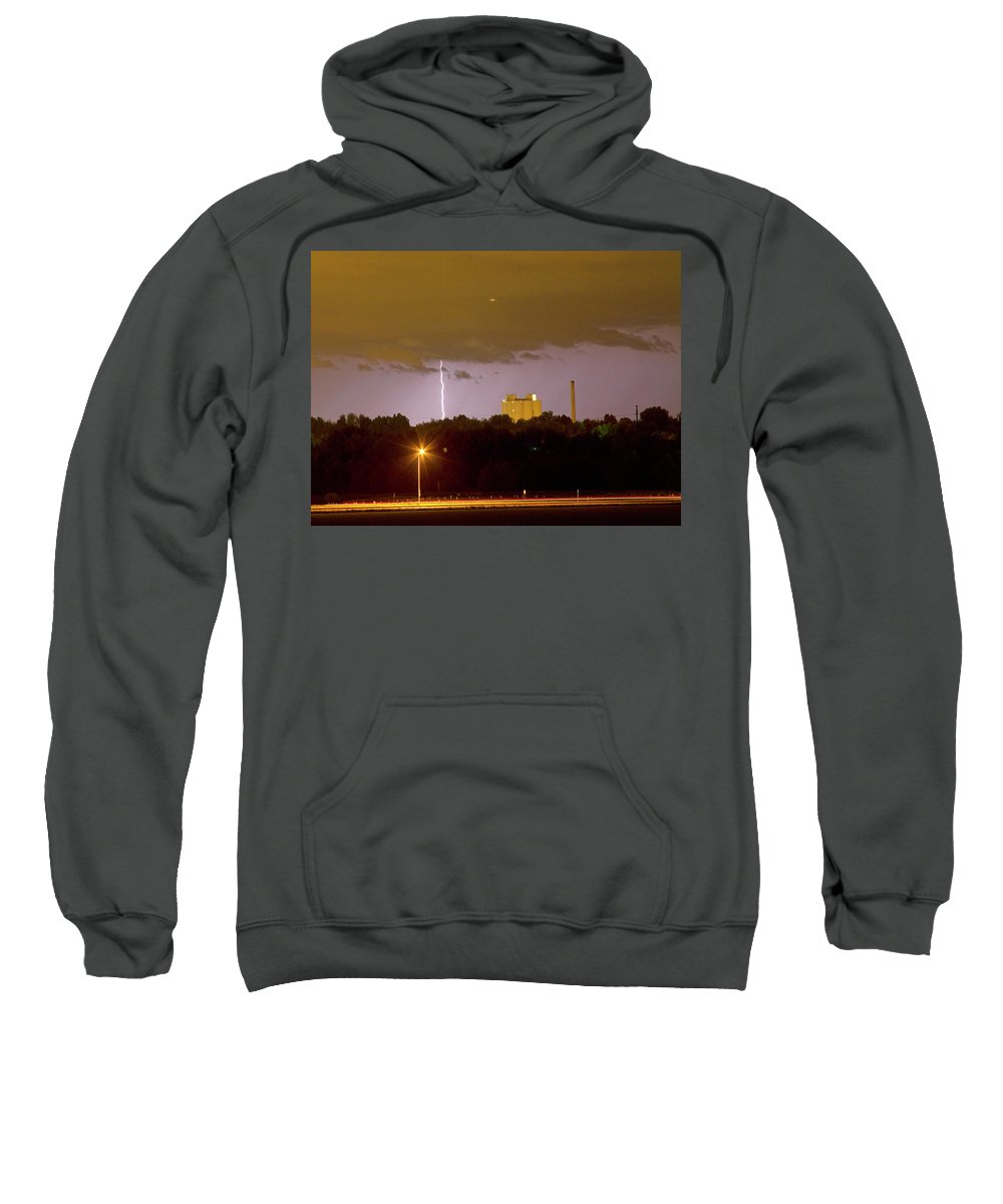 Boulder County Sweatshirt featuring the photograph Lightning Bolts Striking In Loveland Colorado by James BO Insogna