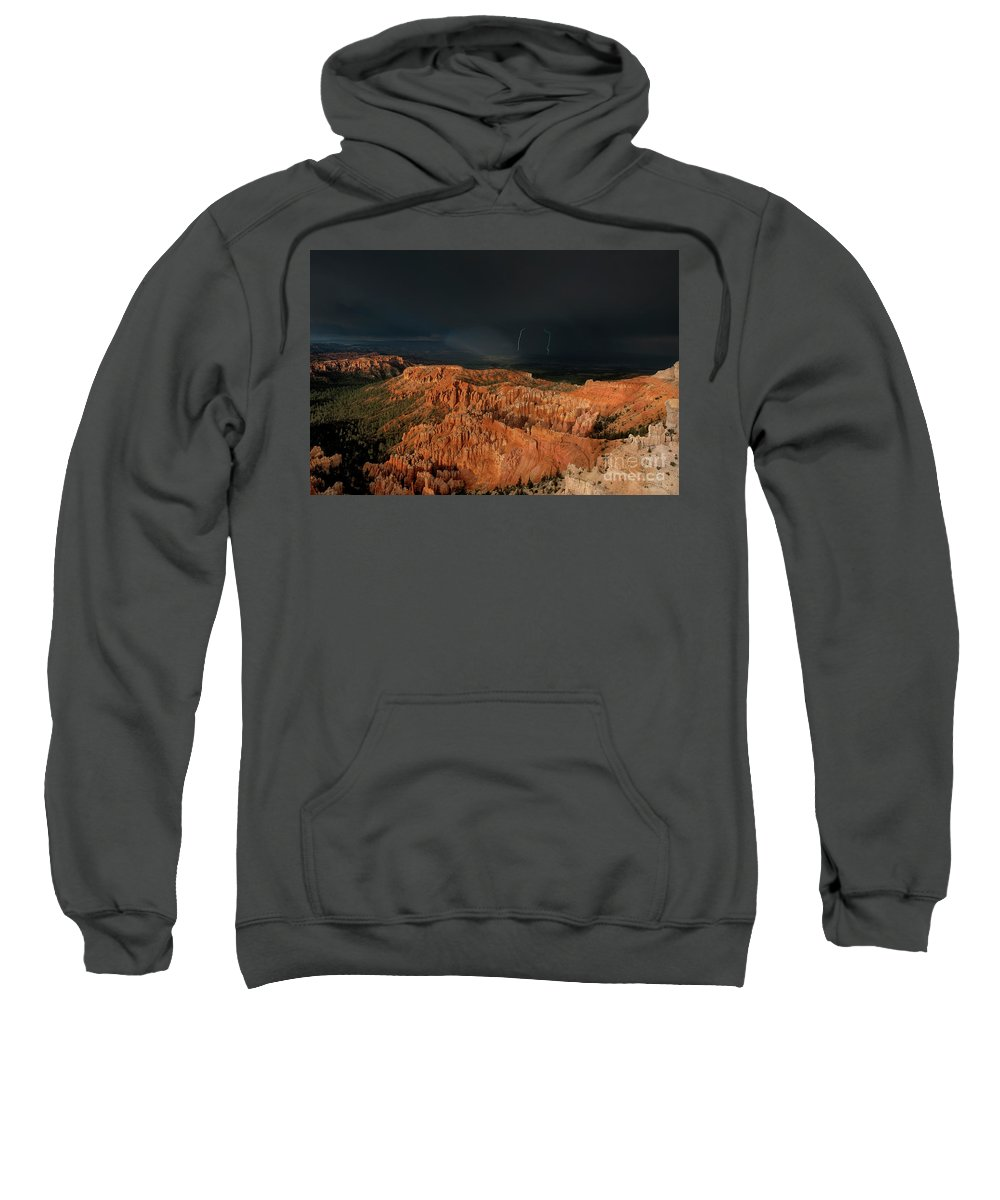 Dave Welling Sweatshirt featuring the photograph Lightning Rainbow Over Hoodoos Bryce Canyon National Park Utah by Dave Welling