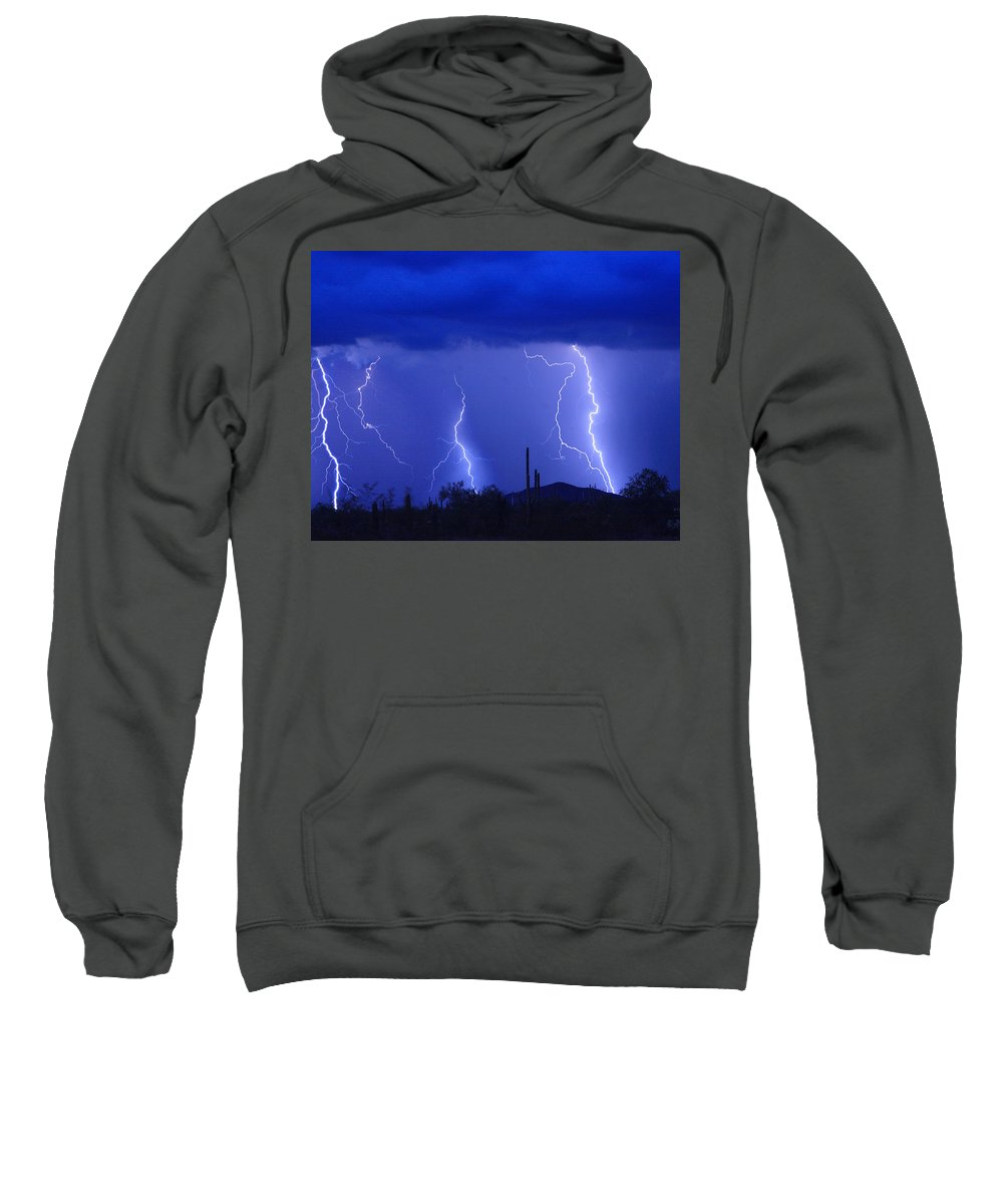 Lightning Sweatshirt featuring the photograph Lightning Storm In The Desert Fine Art Photography Print by James BO Insogna