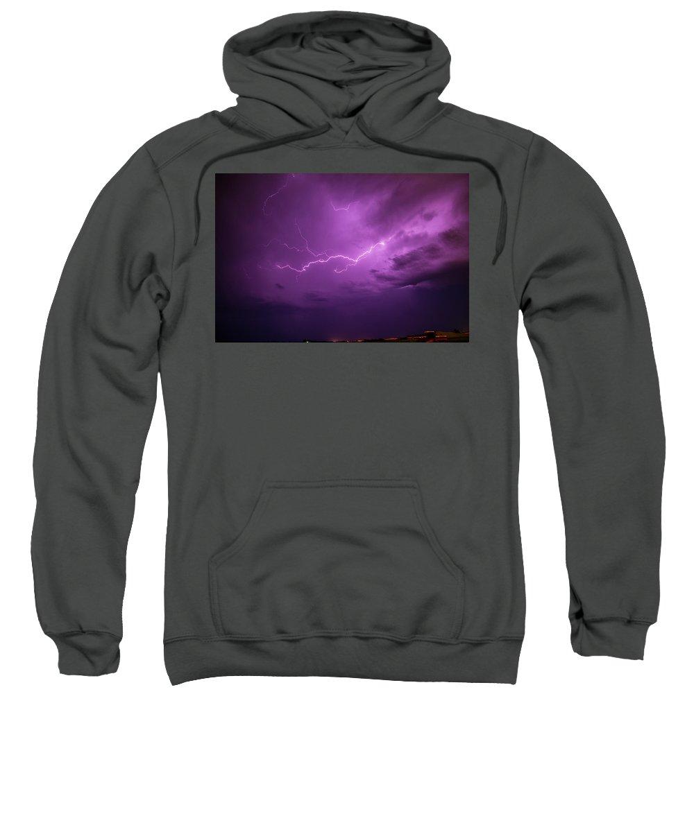 Nebraskasc Sweatshirt featuring the photograph Lightning Totalitty 001 by NebraskaSC