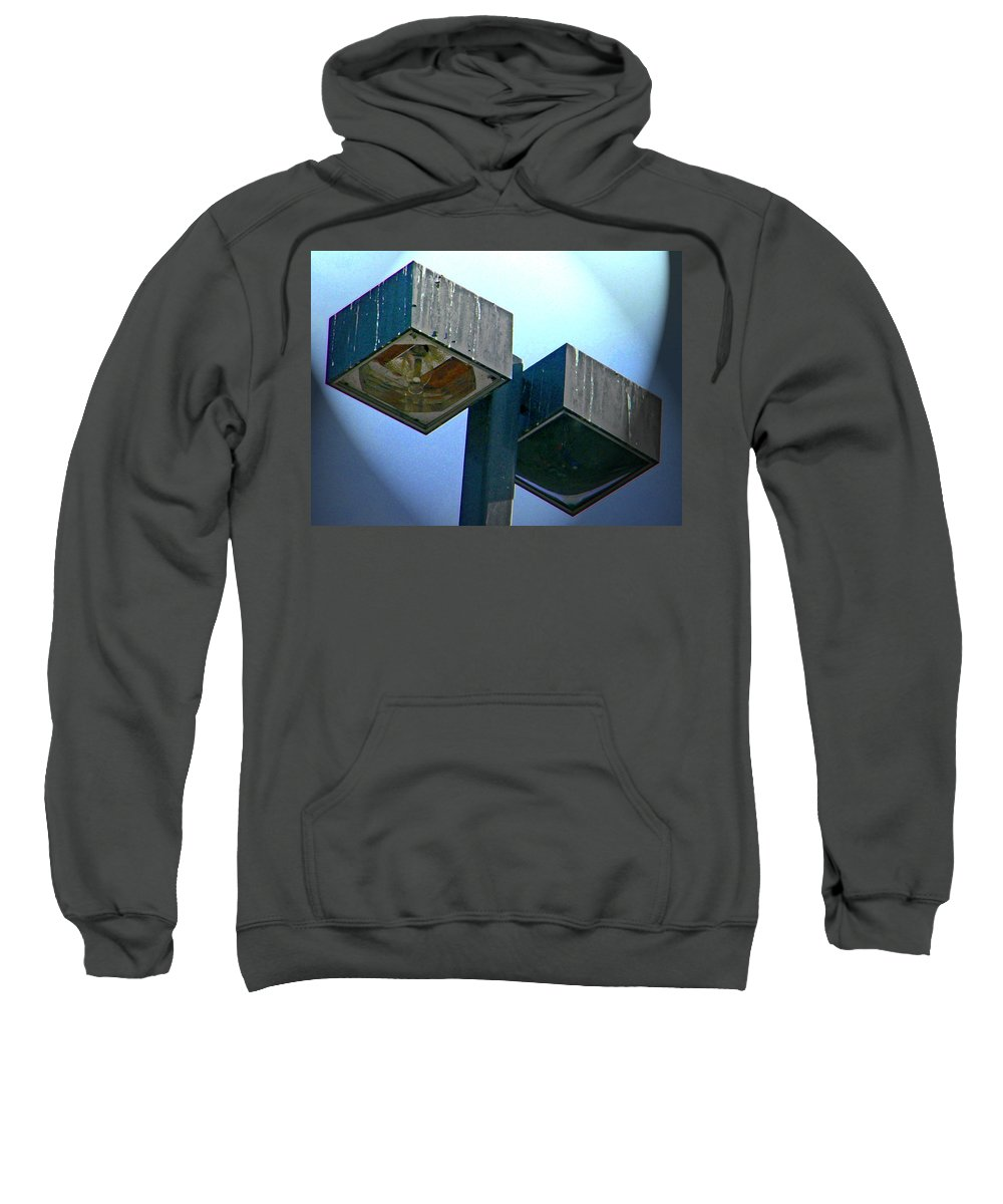 Abstract Sweatshirt featuring the digital art Lights At The Parking Lot by Lenore Senior