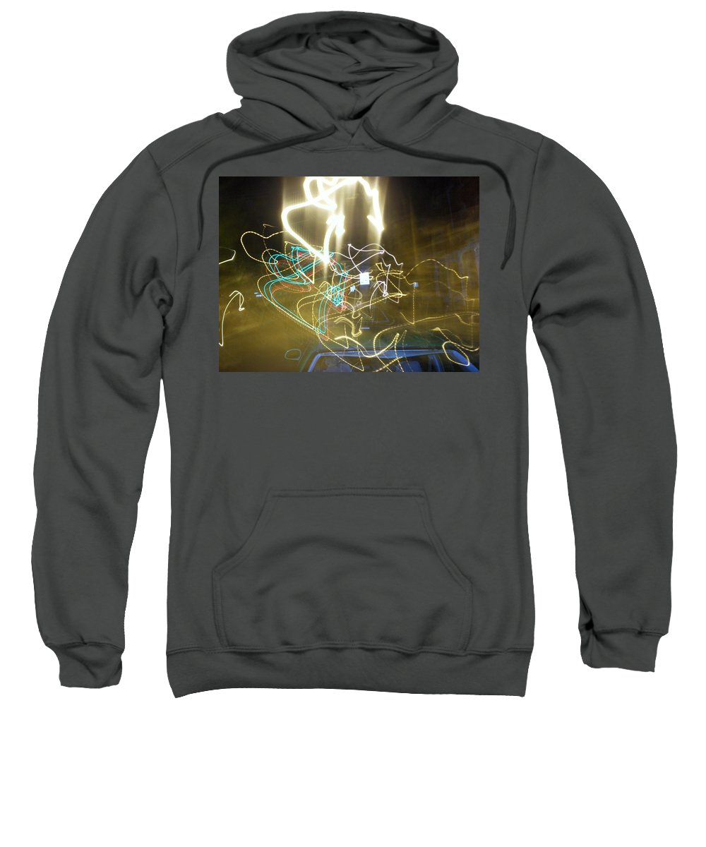Photograph Sweatshirt featuring the photograph Lights That Attack Cars by Thomas Valentine