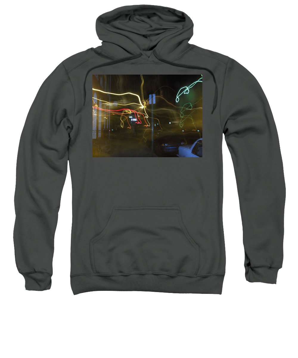Photograph Sweatshirt featuring the photograph Lights That Attack Cars Two by Thomas Valentine