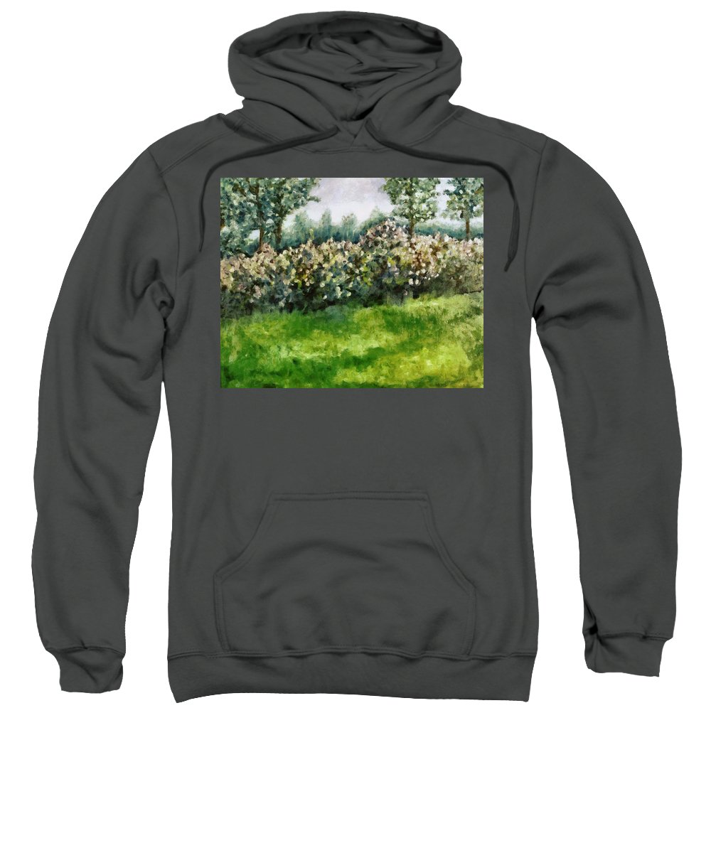Spring Sweatshirt featuring the painting Lilac Bushes In Springtime by Michelle Calkins