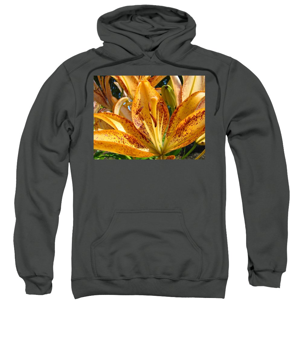 Lilies Sweatshirt featuring the photograph Lilies Art Prints Orange Lily Flowers 2 Gilcee Prints Baslee Troutman by Baslee Troutman