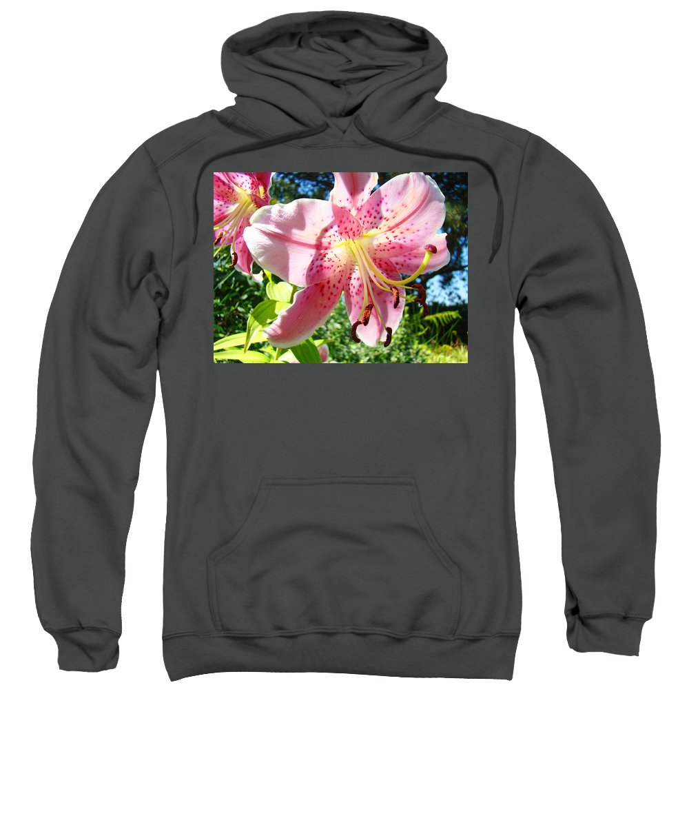 Lilies Sweatshirt featuring the photograph Lilies Art Prints Pink Lily Flowers 2 Giclee Prints Baslee Troutman by Baslee Troutman