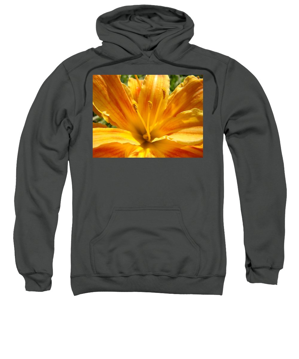 Lilies Sweatshirt featuring the photograph Lilies Orange Yellow Lily Flower 1 Giclee Art Prints Baslee Troutman by Baslee Troutman