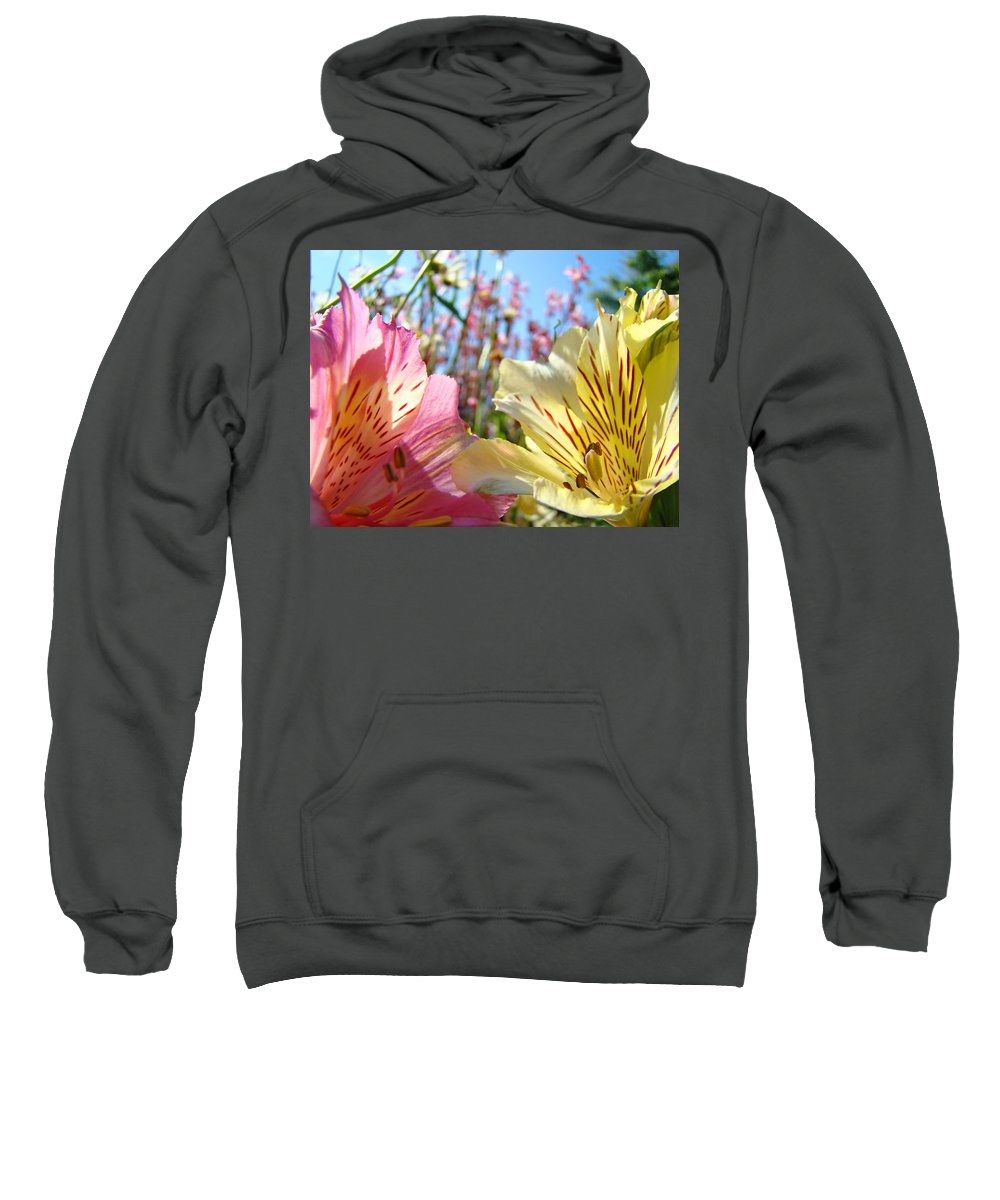 Lilies Sweatshirt featuring the photograph Lilies Pink Yellow Lily Flowers Canvas Art Prints Baslee Troutman by Baslee Troutman