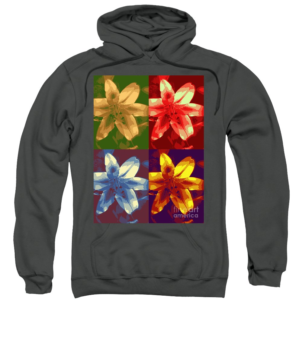 Stargazer Lily Sweatshirt featuring the photograph Lillies Of Four by Terry Matzke