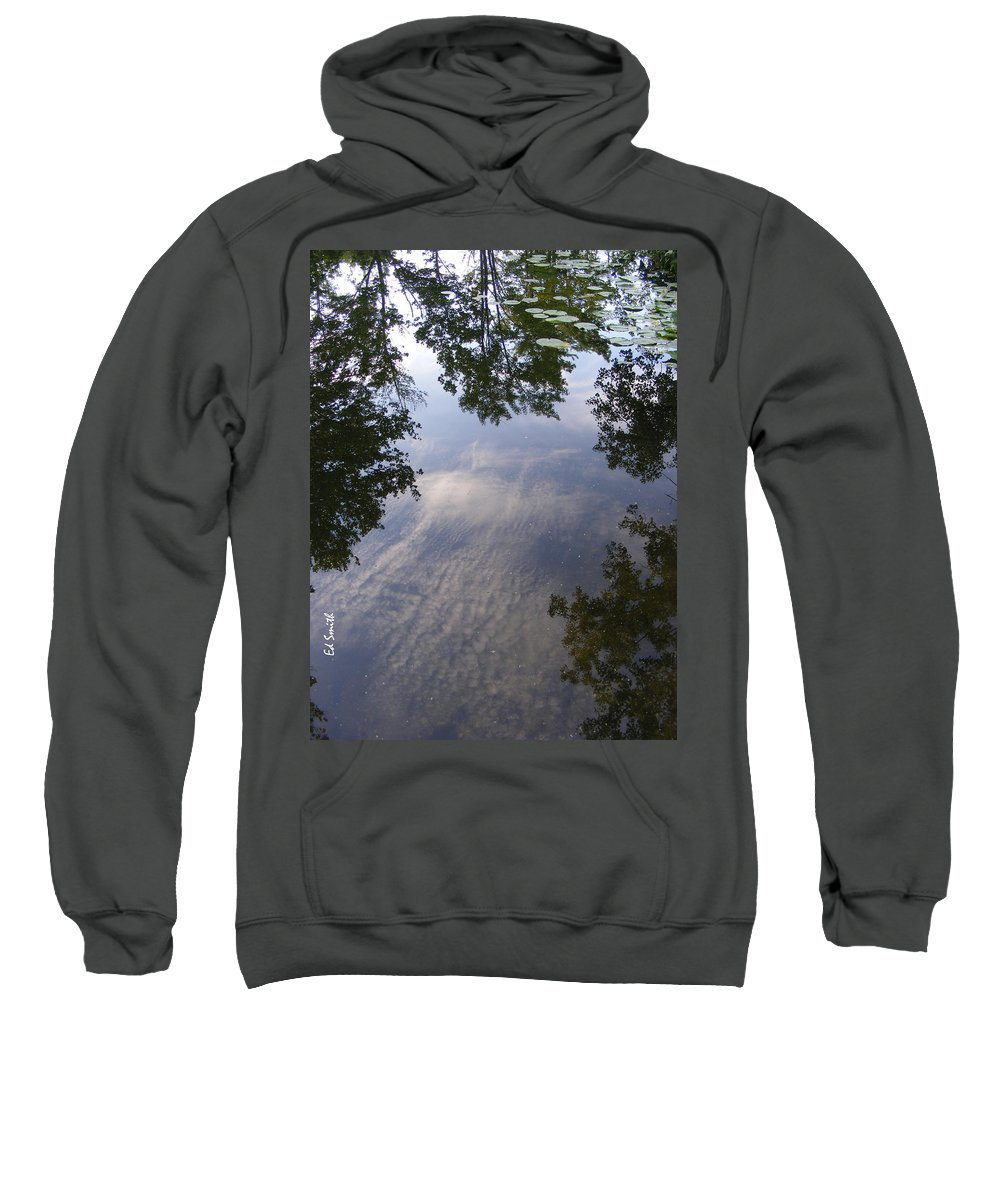 Lilly Pad Reflections Sweatshirt featuring the photograph Lilly Pad Reflections by Ed Smith