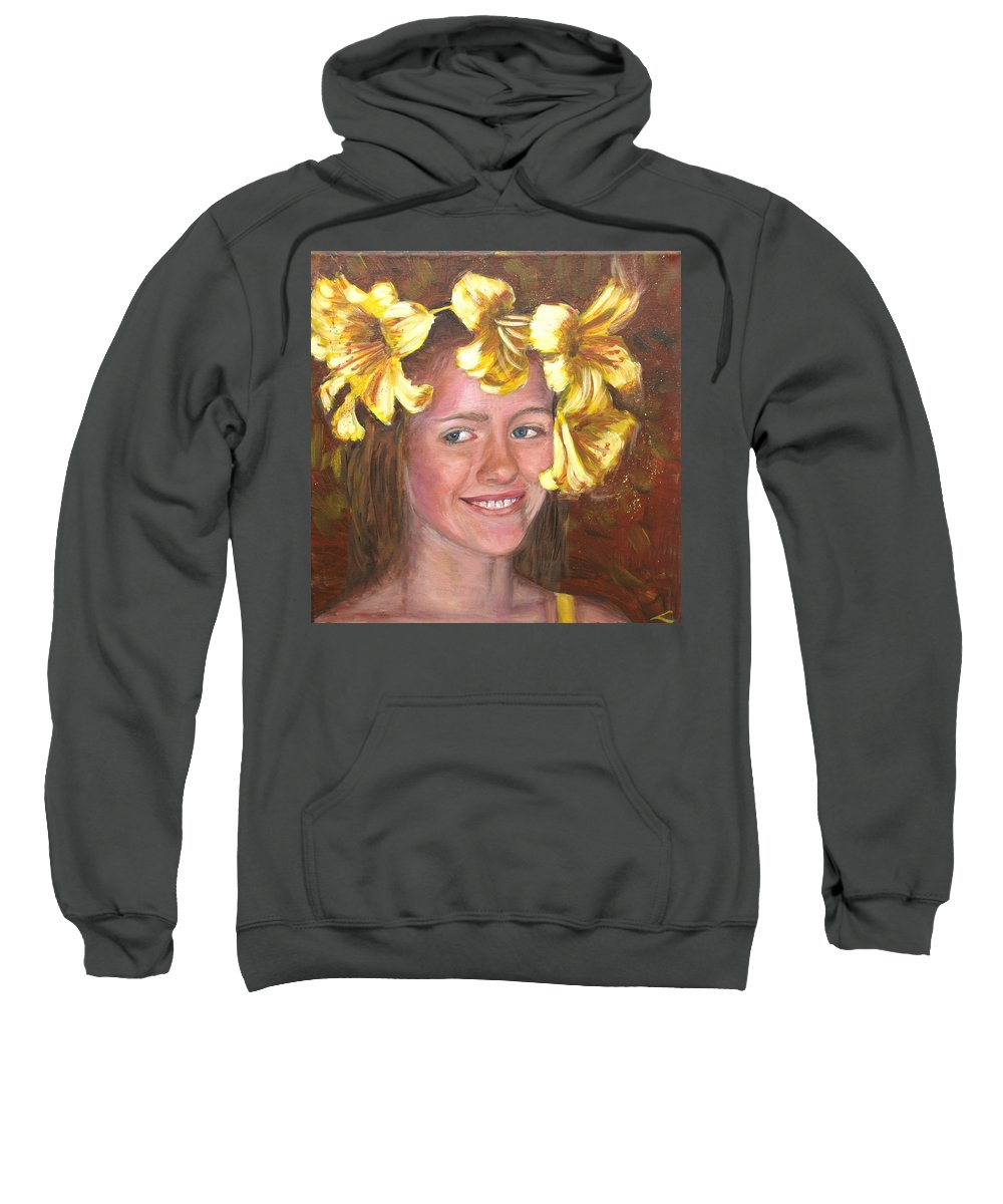Girl's Portrait Sweatshirt featuring the painting Lily Girl by Elena Sokolova