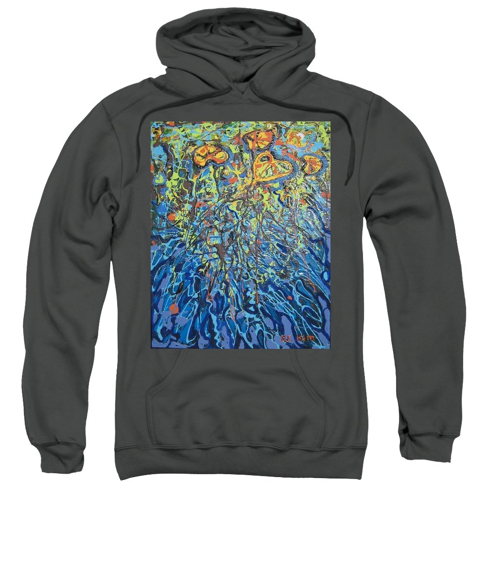 Lily Pads Paintings Sweatshirt featuring the painting Lily Pads Water Lily Paintings by Seon-Jeong Kim