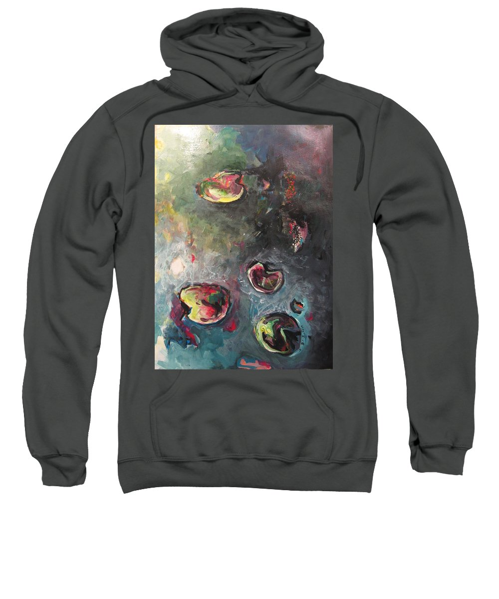 Abstract Painting Lily Pad Water Lake Blue Plant Paper Original Contemporary Canvas Sweatshirt featuring the painting Lily Pads5 by Seon-Jeong Kim