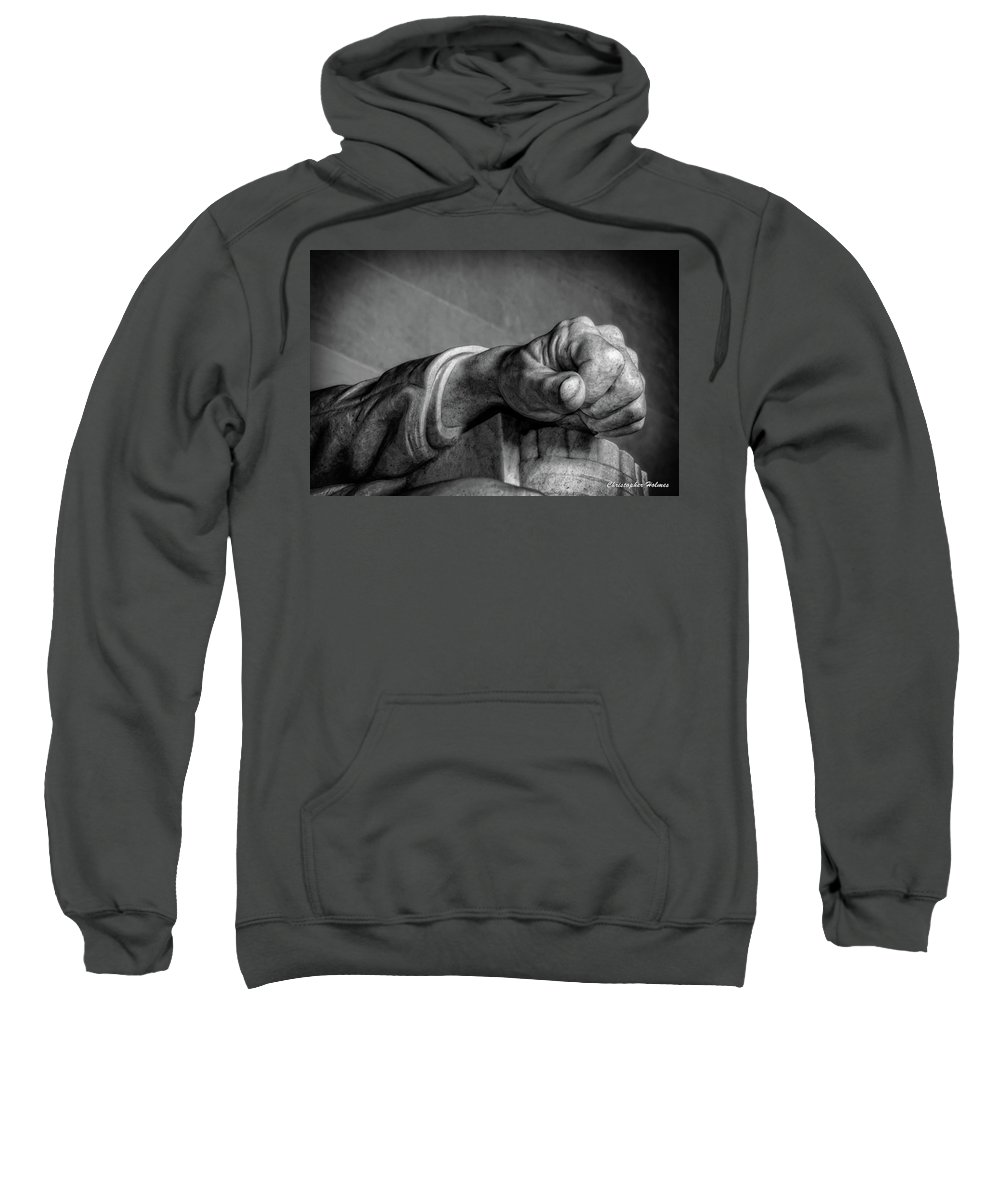 Lincoln Sweatshirt featuring the photograph Lincoln's Left Hand B-w by Christopher Holmes
