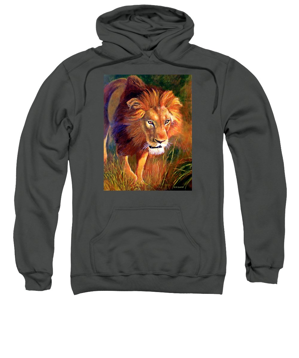 Lion Sweatshirt featuring the painting Lion At Sunset by Michael Durst