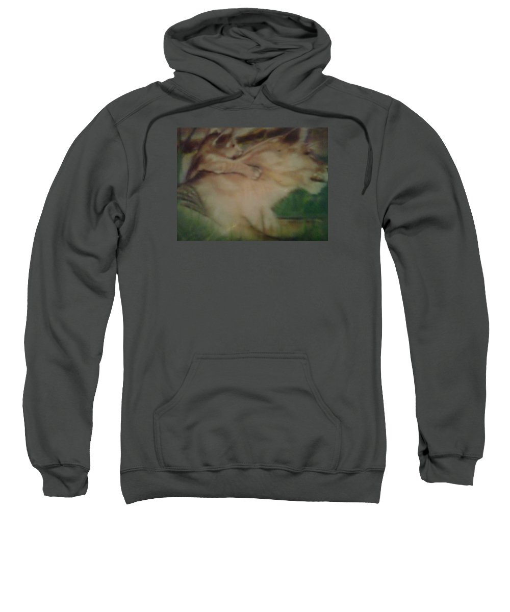 Lion Sweatshirt featuring the pastel Lioness And Cub by Sylvester Wofford