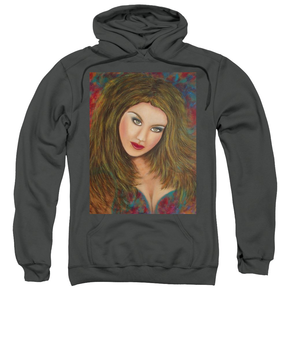 Portrait Sweatshirt featuring the painting Lioness by Natalie Holland