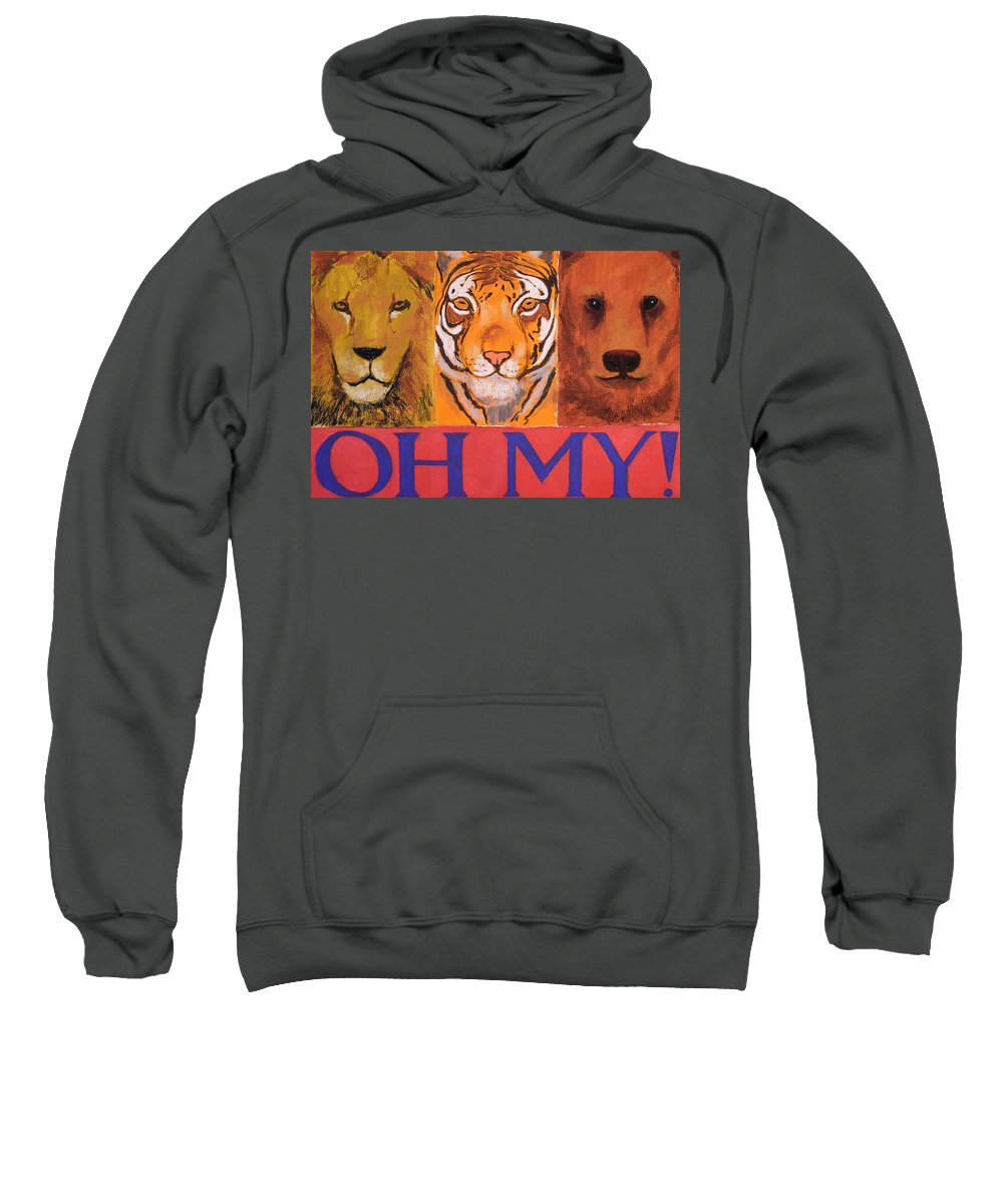Lion Sweatshirt featuring the painting Lions And Tigers And Bears by Mary McInnis