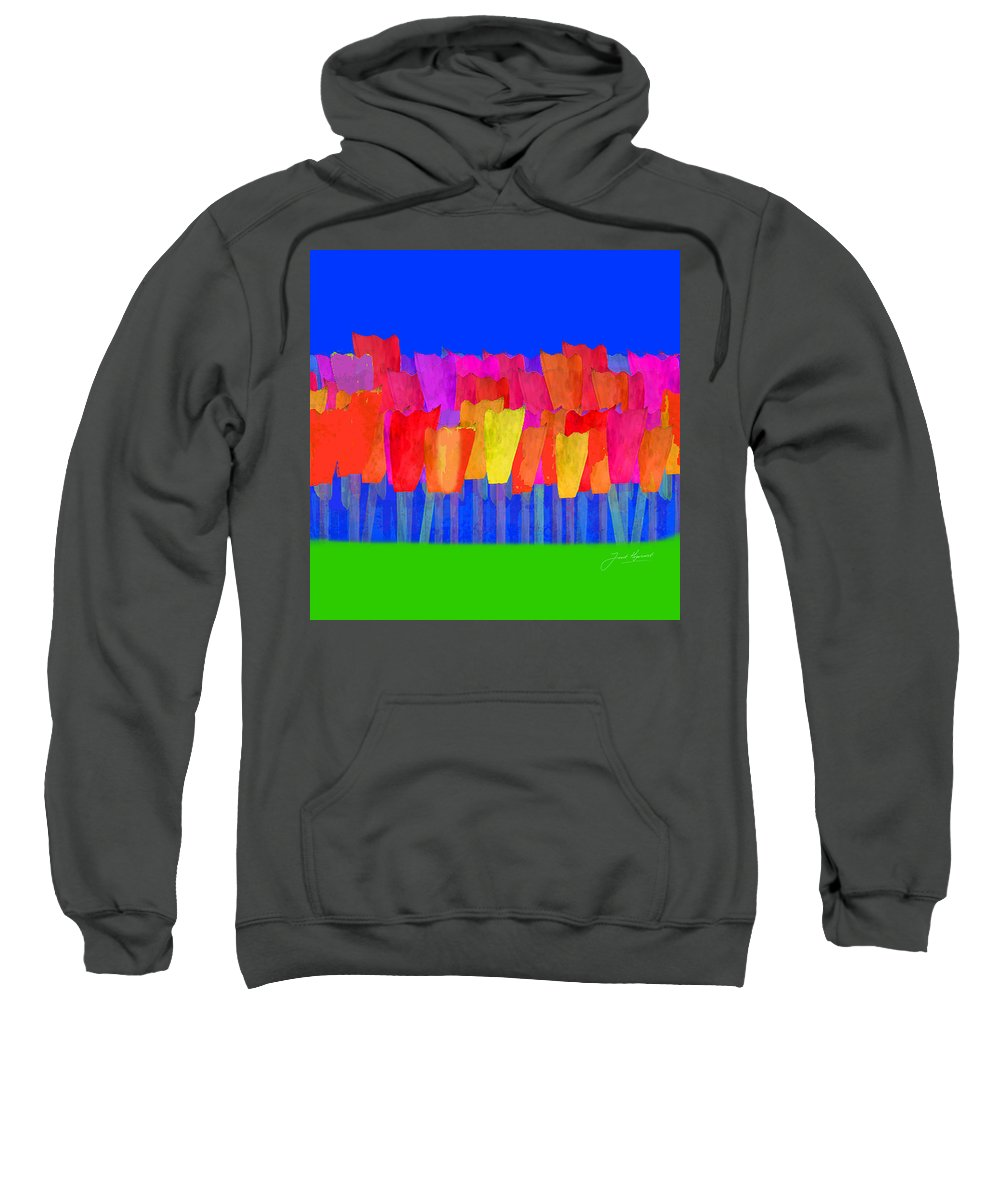 Tulip Sweatshirt featuring the painting Lisse - Tulips Blue On Green by Joost Hogervorst