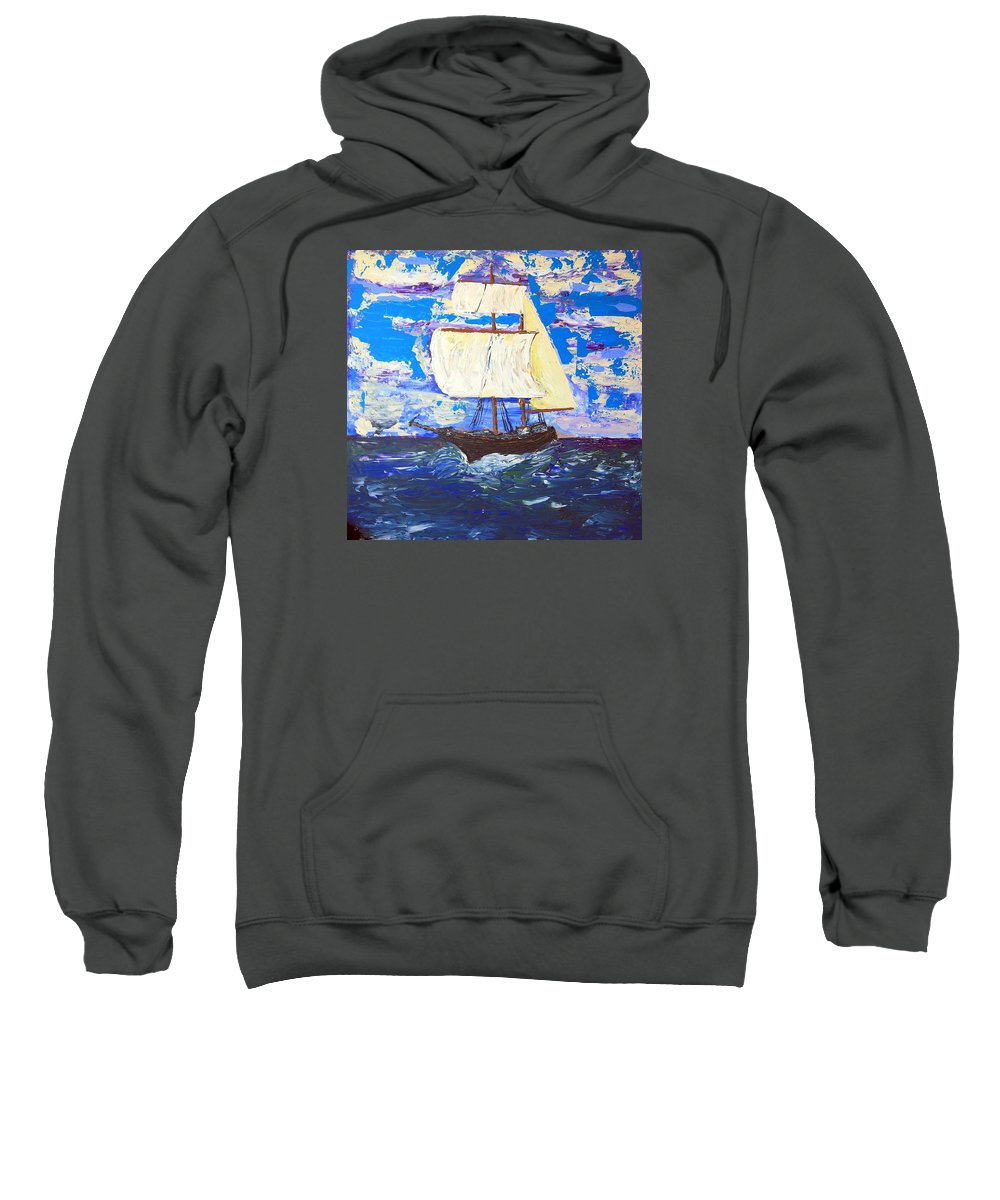 Clipper Sweatshirt featuring the painting Little Clipper by J R Seymour
