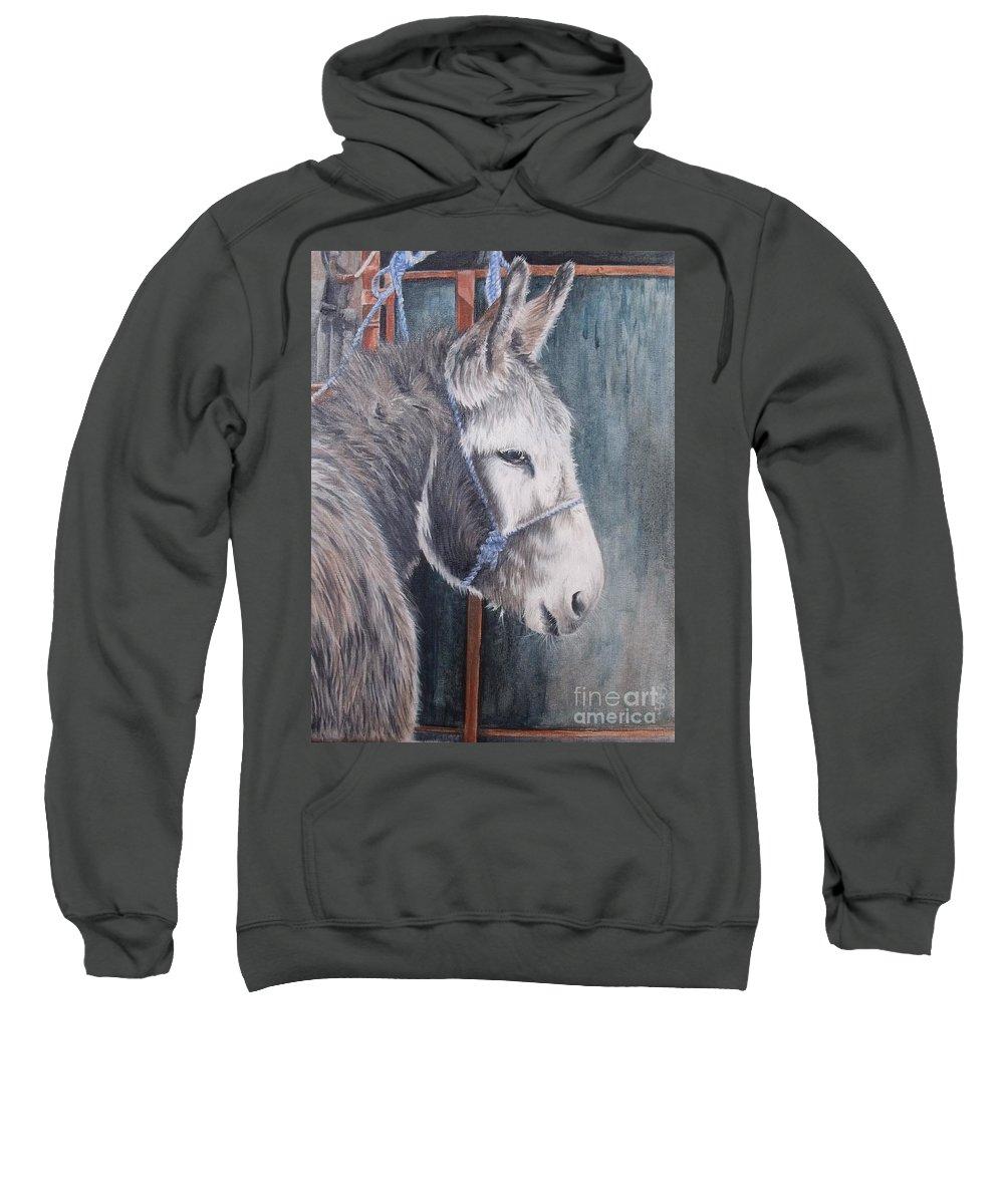Portrait Sweatshirt featuring the painting Little Donkey-glin Fair by Pauline Sharp