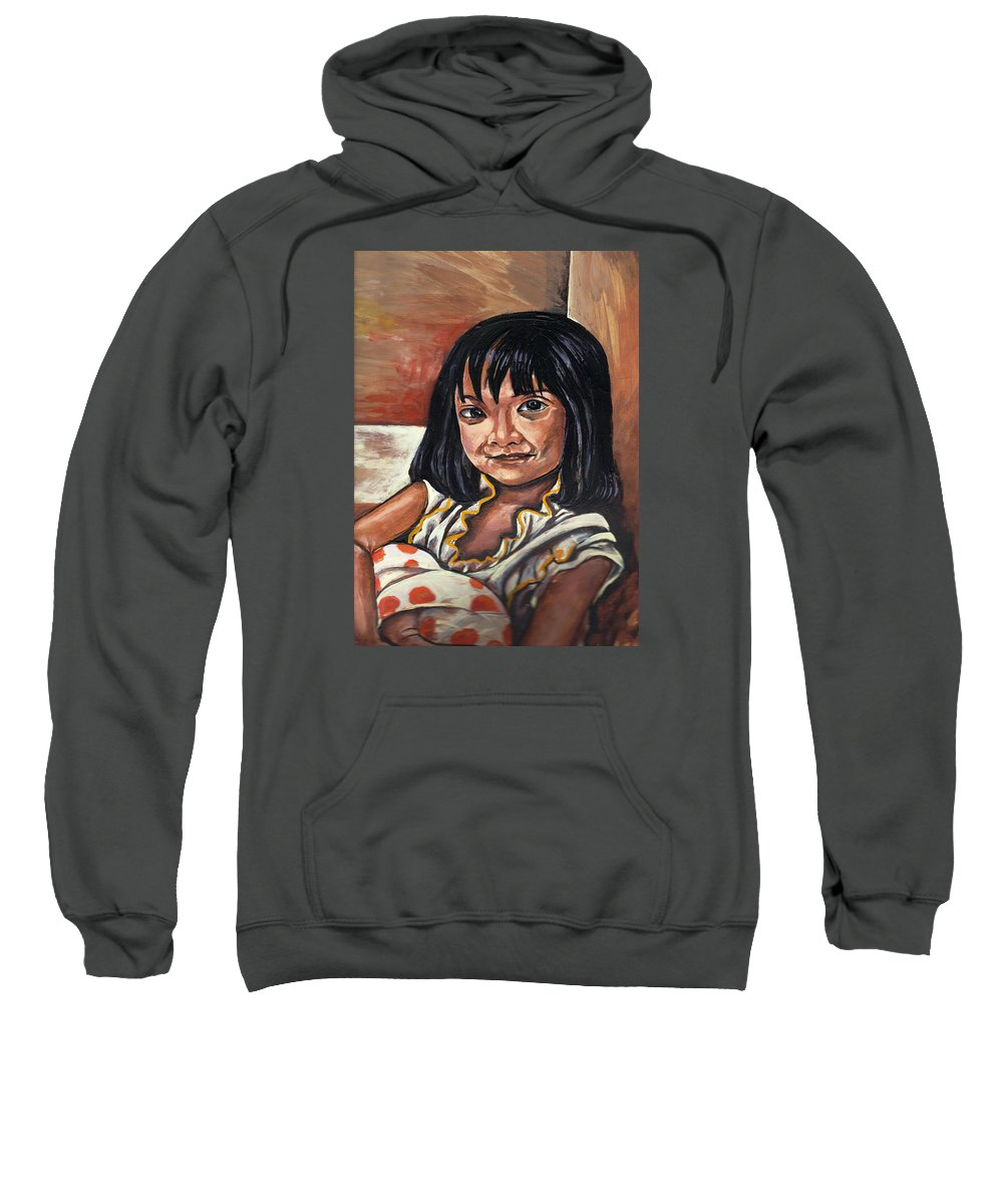 Little Girl Sweatshirt featuring the painting Little Girl With The Orange Pokedots by Robin Cordero
